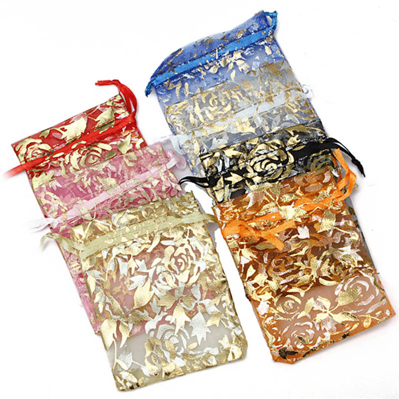 100pcs Gauze Organza Gift Bag Jewelry Packing Pouch Xmas Party Wedding Favor About 9X7cm Make Your Gift Own Style(China (Mainland))