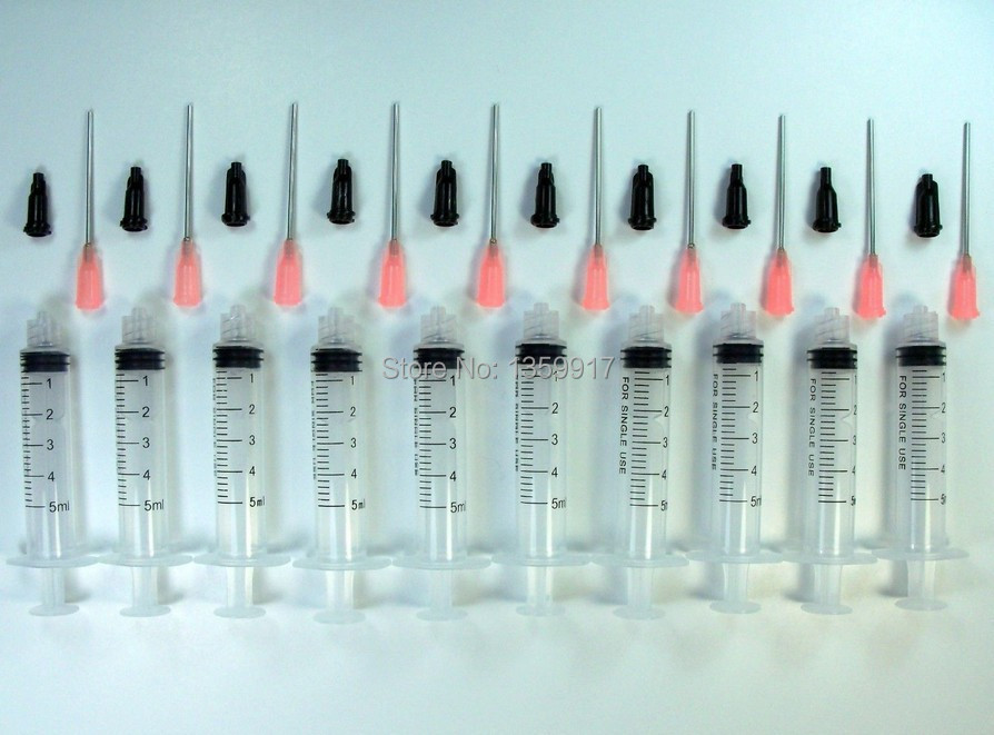 10 Syringes 5ml with Luer Slip Tip, 20 Gauge Dispensing Tips and Caps(China (Mainland))