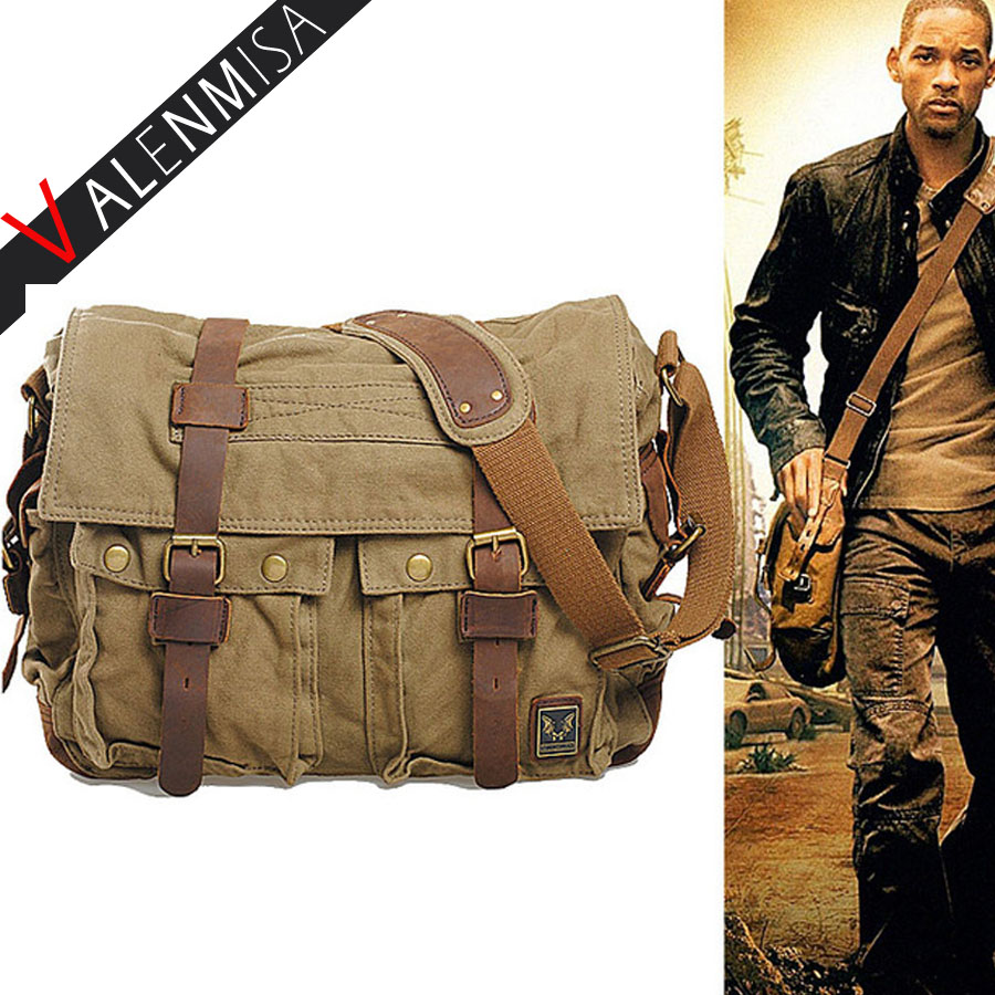 Men Canvas Messenger Bags Designer Brand Vintage Crossbody Bags Laptop Bags AM LEGEND Military Handbags Satchel Shoulder Bags