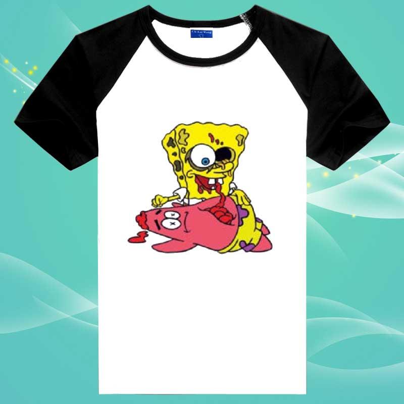 Men's White T shirt Spongebob Zombie GAME OVER Design Fashion Top Party Humor Funny Cartoon Casual Tee Shirt Euro Size XS 2XL(China (Mainland))