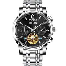 DOM Homens Relógio de Pulso Mecânico Automático Relógios Retro Homens Preto À Prova D' Água Full-Relógio do Aço Relógio Montre Homme M-75BK-1MW(China)