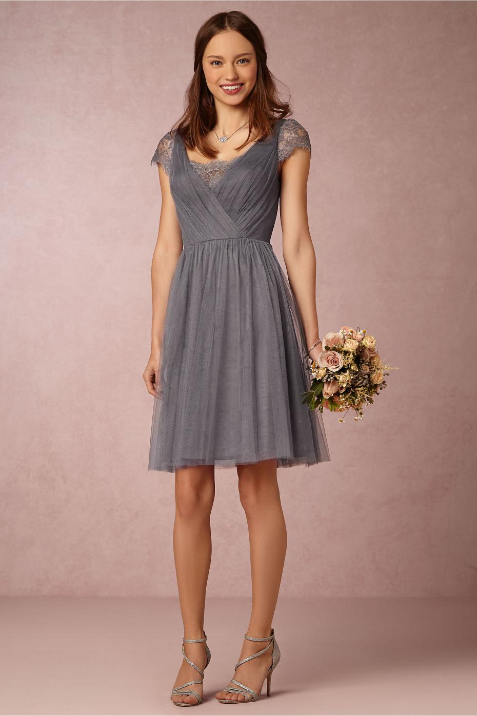 Gallery for short gray chiffon bridesmaid dresses for Silver tea length wedding dresses