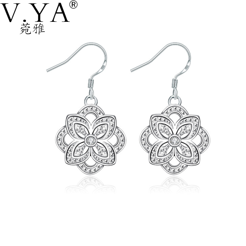 Fashion Flower Silver Drop Earrings Women Jewelry plated SE01 - VYA Official Store store