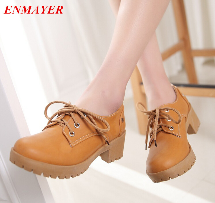 ENMAYER Women Lace-Up Solid Casual ballet flats women Spring / Autumn PU Cow Muscle womens flat shoes New 2015