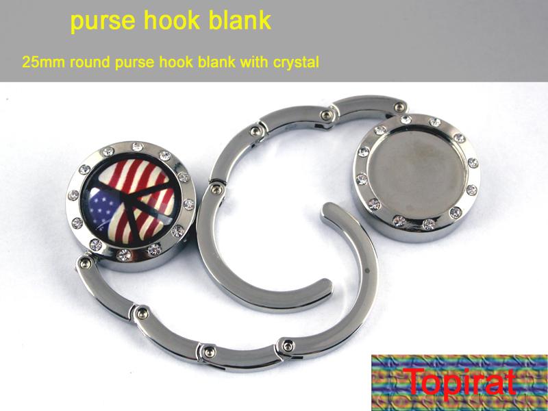 1PCS 25mm New Blank DIY Diamonds Foldable Glossy Handbag Bag Purse Hanger folding Hook Holder(China (Mainland))
