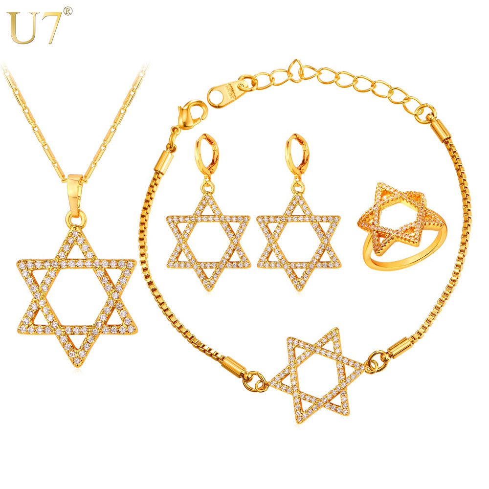 promotion moonstone wedding rings promotion moonstone wedding ring sets U7 New Hot Jewish Jewelry Star of David Necklace Set Gold Plated Wholesale Crystal Women Wedding Bridal Jewelry Sets S