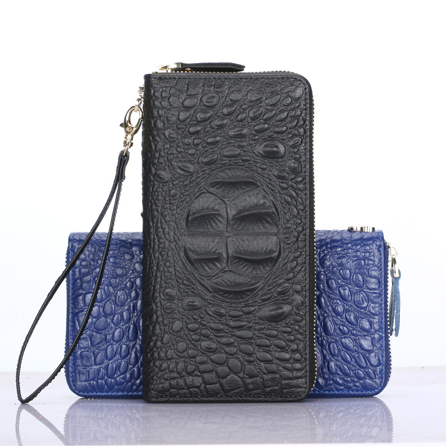 New leather wallet Lady fashion crocodile leather clutch purse wallet(China (Mainland))