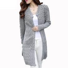 Women Long Cardigan 2015 Autumn Winter Bead Pearl Long Knitted Sweaters Outwear Long-Sleeve Casual Loose Female Sweater Cardigan(China (Mainland))