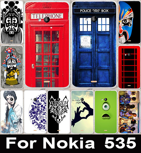 Telephone Booth Beijing Opera Face Soft TPU & Hard PC Phone Cases Back Cover Case For Microsoft Nokia Lumia 535 Phone Bags Skin(China (Mainland))
