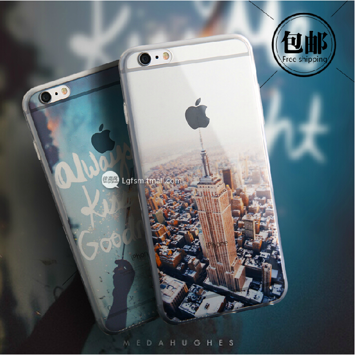 Beautiful City Mountain Ocean Flower Transparent Cover Case For Apple iPhone 6 Case 4.7 TPU 6 Series Crystal Soft Case For Phone(China (Mainland))