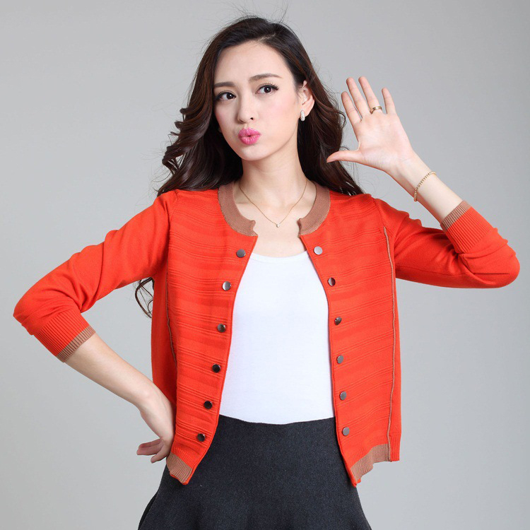 2015 New woman Cardigans knit female sweaters Autumn women's short coat double-breasted solid color(China (Mainland))