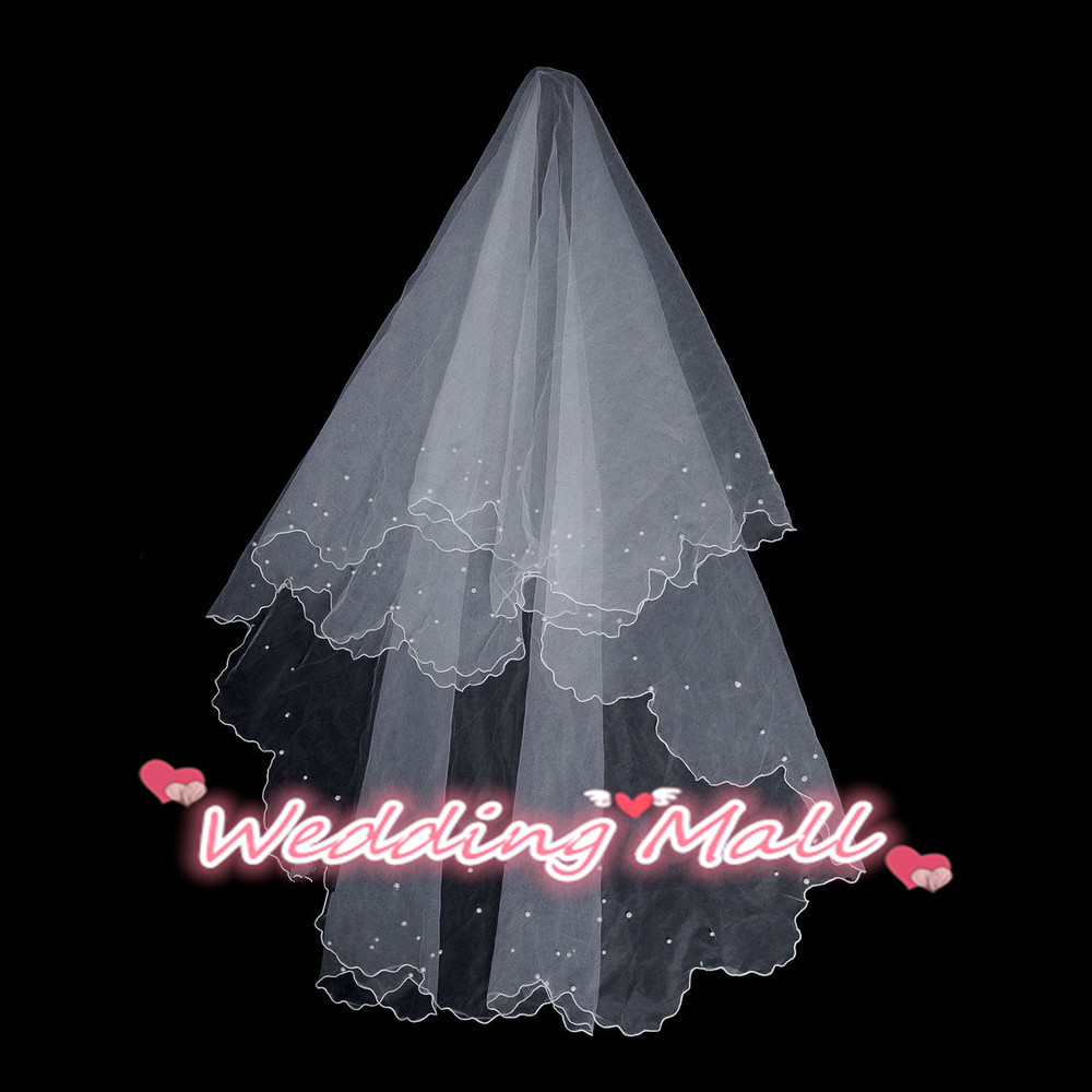 Fast Shipping Veil 2015 Hot Sale In Stock 1.5m Beaded Wedding Veil Wedding Accesories One Layer Veils Bridal Veil White Or Ivory(China (Mainland))