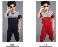 2015 summer new boys short-sleeved suit wavy Large Kids(China (Mainland))