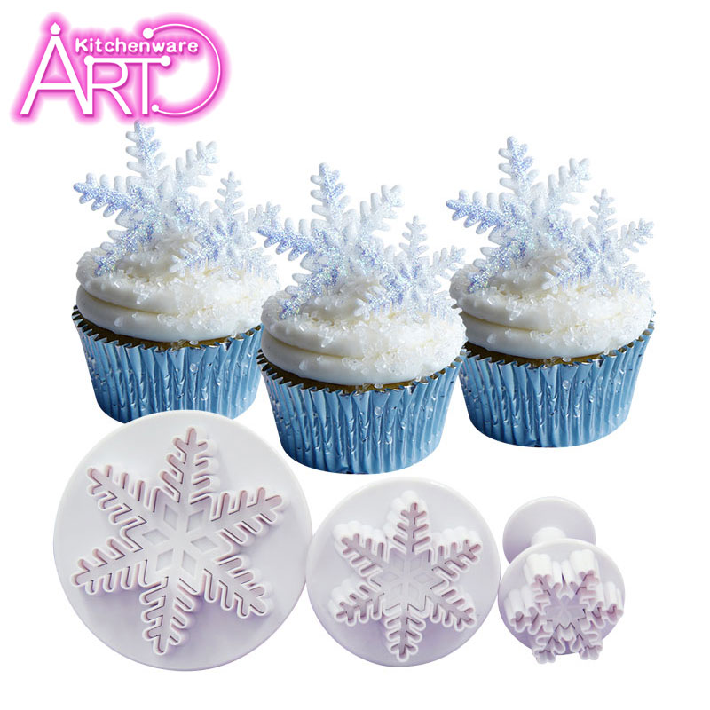Snowflake Plunger Cutter Set, Sugarcraft Fondant Plunger Cake Cutters, Cake Decorating Tools Cutter, Cupcake Decoration Cutter(China (Mainland))