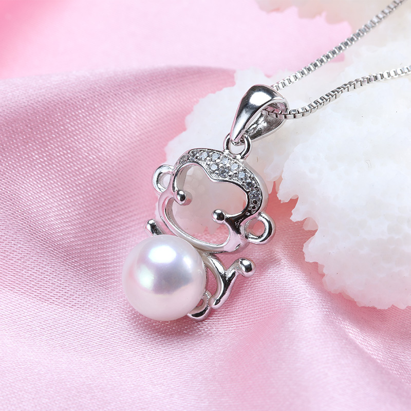 Highly Recommemd Cute Monkey Pearl Necklace 100% Real Freshwater Pearl Jewelry 18k White Gold Plated 8-9mm Pearl kolye Gift(China (Mainland))
