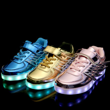 Baby Children shoes with light USB led girls boys Sneakers wings charging colorful leisure cool luminous led shoes kids 25-37(China (Mainland))