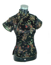 Free Shipping New Sale fashion cheongsam top traditional Chinese Silk/Satin Top dragon and phoenix blouse top 3 color(China (Mainland))