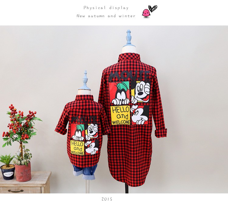 New fashion mom and Girls plaid blouse shirt summer Top Tee Monther and Daughter matching clothes kids children family clothing