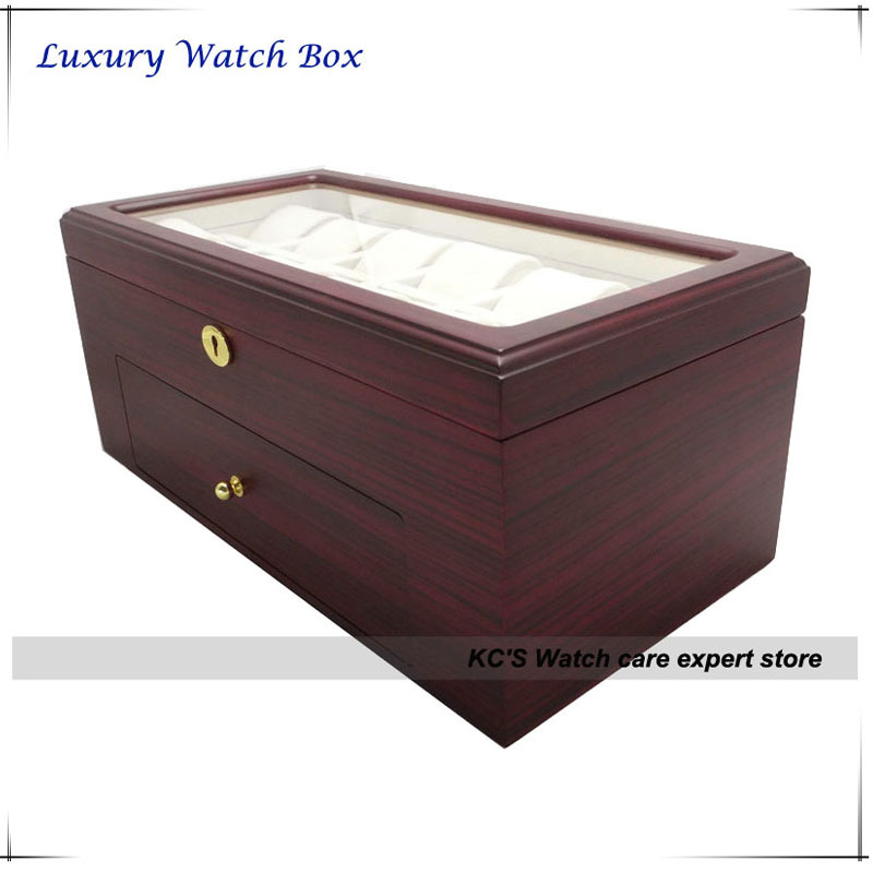 22 Grids Wood(MDF) Jewelry Watch Case Watch Display Case Box Storage Holder Organizer Case Holder  Double Layers GC02-TZ-22WD<br><br>Aliexpress