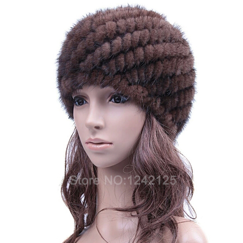 New special parent-child promotion women autumn winter genuine leather knitted striped warm real mink fur weave hat cap headgear(China (Mainland))