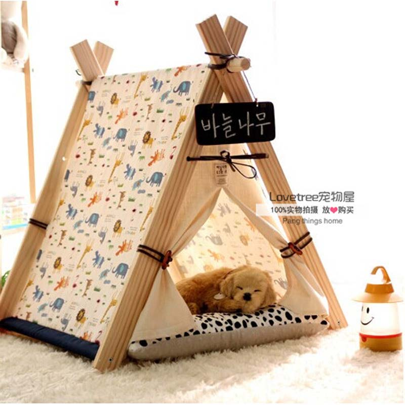 Pet bed teepee chic trendy small dog tent cat nap for Dog haus dog beds