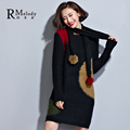 2015 Women's European Style Dress Autumn Pure Color Half Sleeve O Neck Black Red Dress for Women L,XL,XXL,XXXL(R.Melody DS0158)