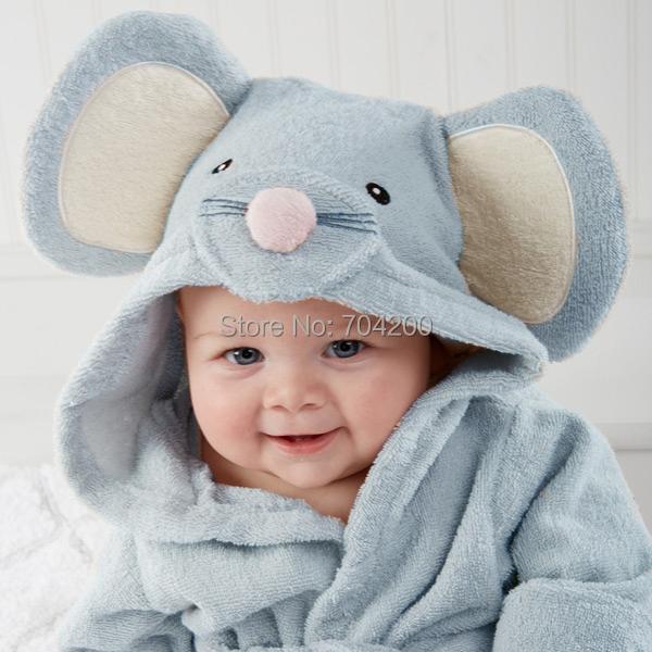 Blue Mouse Rat Modeling Baby bathrobe/Hooded kid bath towel/Cartoon children's beach towel/Infant Wrap Pajamas(China (Mainland))
