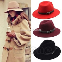 Free Shipping Retro Women Wool Belt Fedora Trilby Cap Winter Warm Wide Brim Buckle Cowboy Hat