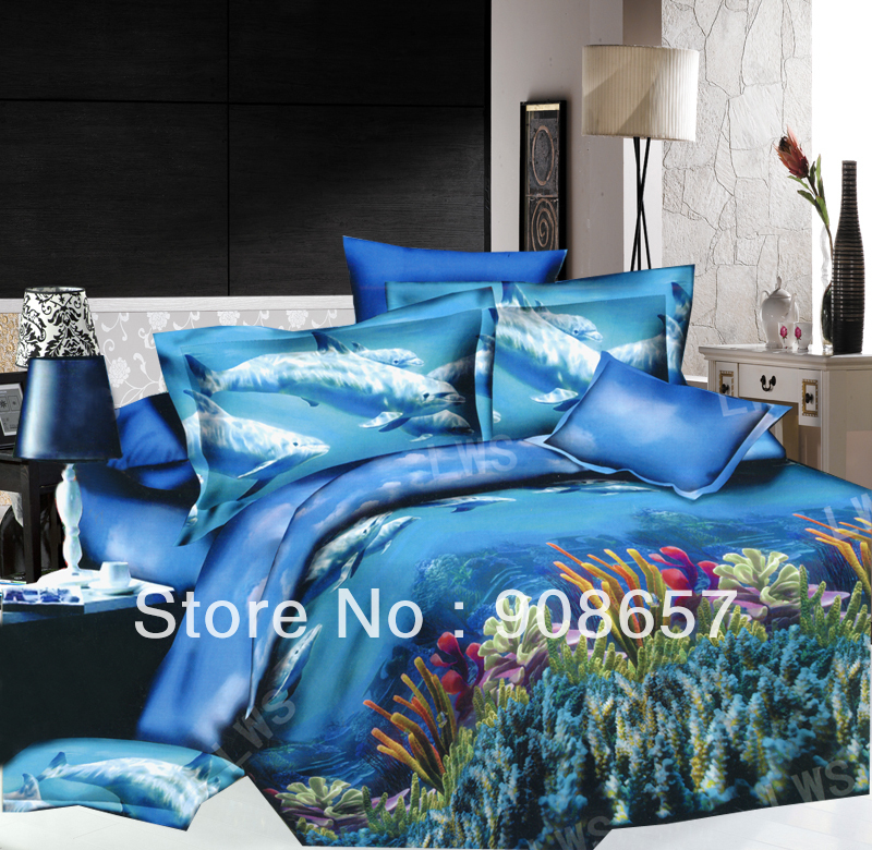 Blue Under The Sea Fish Pattern Cheaper 3D Bedding Set Discount Oil Painting