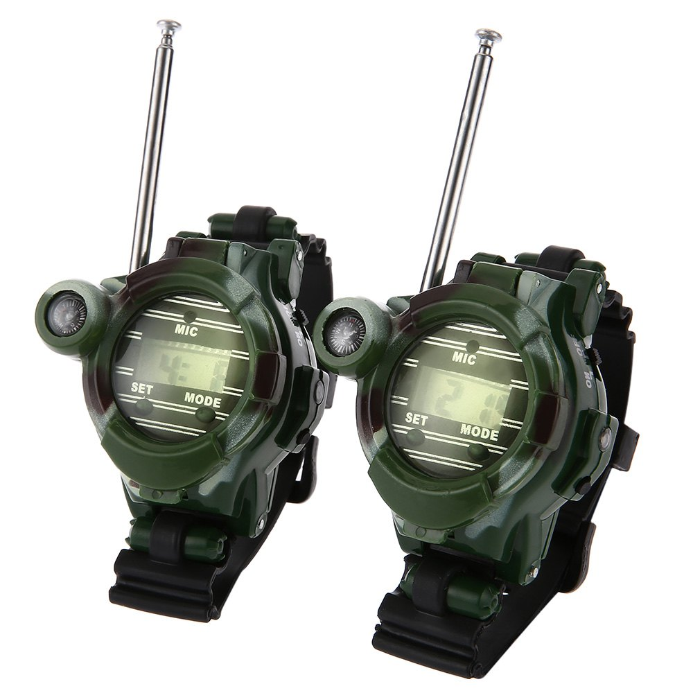 2pcs 7 In 1 Walkie Talkie Watch Camouflage Style Children Toy Kids Electric Strong Clear Range Interphone Kids Interactive Toys(China (Mainland))