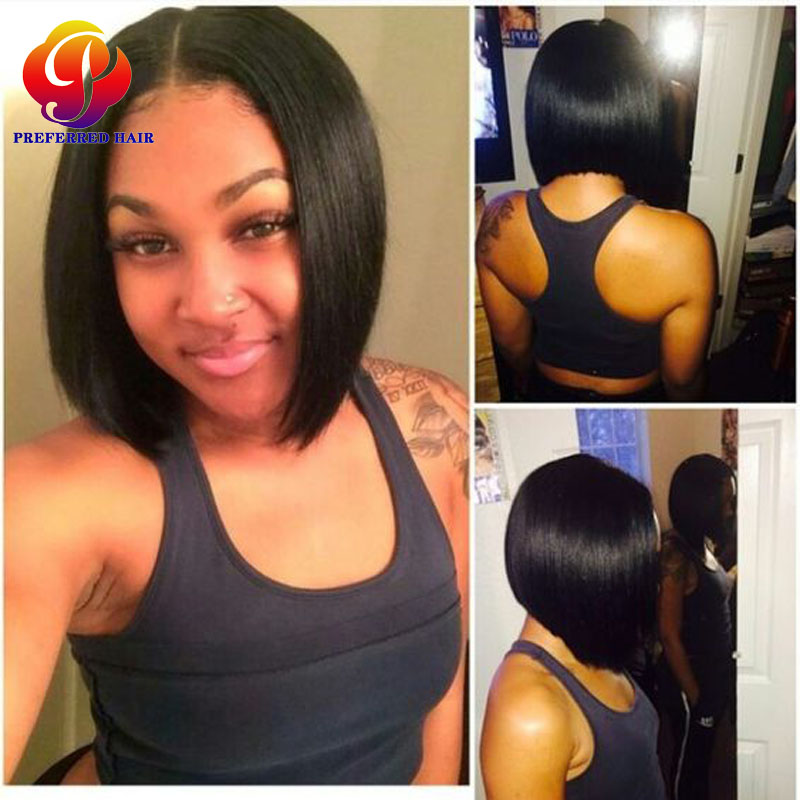 Brazilian Bob Lace Wig Glueless Lace Front Bob Wigs With Baby Hair For Black Women Lace Front wig Short Bob Cut Natural Hairline<br><br>Aliexpress