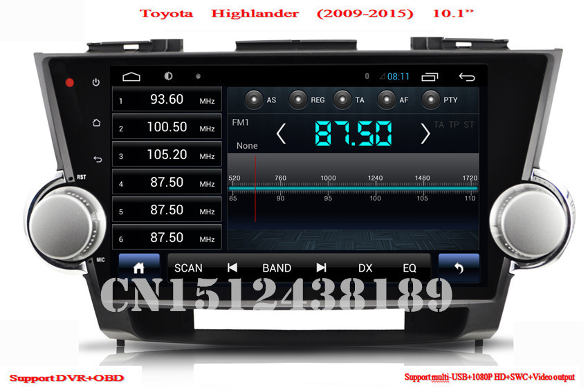 """HD1024*60010.1"""" Car PC Android Car DVD player radioFor Toyota Highlander 2009 2010 2011 2012 2013 2014 With Stereo Radio 3G WiFi(China (Mainland))"""