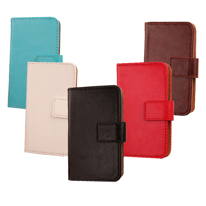 PU Leather Smart Phone bag Flip design Solid color skin Cover Accessory PU Leather Wallet Pouch Card slot Case For DNS S4507(China (Mainland))