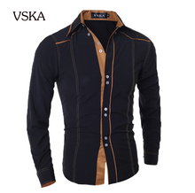 Men Shirt 2015 Fashion Brand Men'S Double Button Male Long-Sleeved Shirt, Camisa Masculina Casual Slim Chemise Homme XXL DNVKD