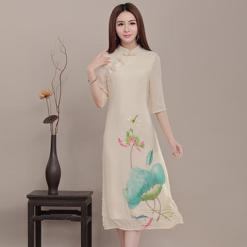 New Large Size Print Dress Chinese Style Cheongsam Women Cotton Linen Slim 2016 Spring New Fashion Clothes KH091(China (Mainland))