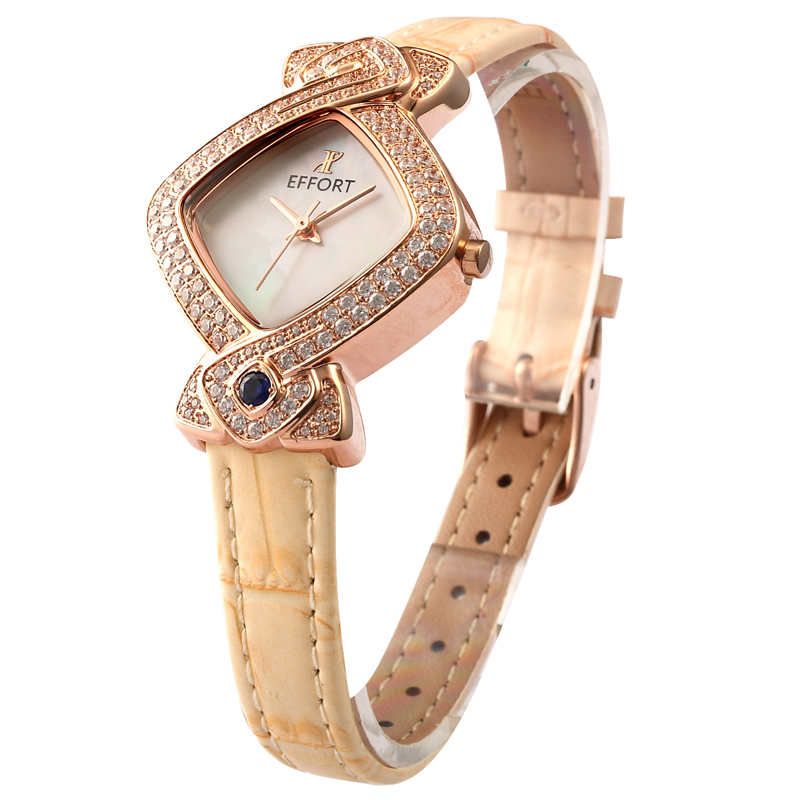 EFFORT Women Rose Gold Bracelet Top Brand Diamond Shape Pink Leather Band Sapphire Rose Gold Steel Oyster Dial Quartz Hand Watch(China (Mainland))