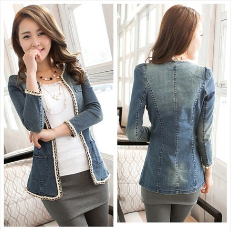 Coat Real Formal Regular Full O-neck Solid 2014 Spring And Autumn Jacket Medium-long Chain Cardigan Thin Outerwear Women's Top(China (Mainland))