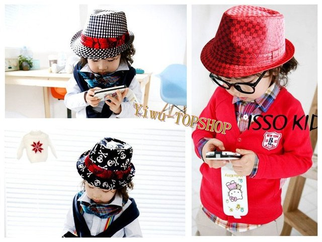 Free shipping New arrival Cute Kid Children's hats caps Red Jazz hat Dancing hats Lattice hat skull hat caps
