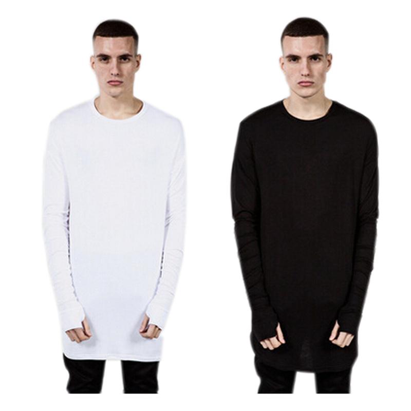 2016 Hip Hop Fashion Mens Shirts Thumb Hole Cuffs Long