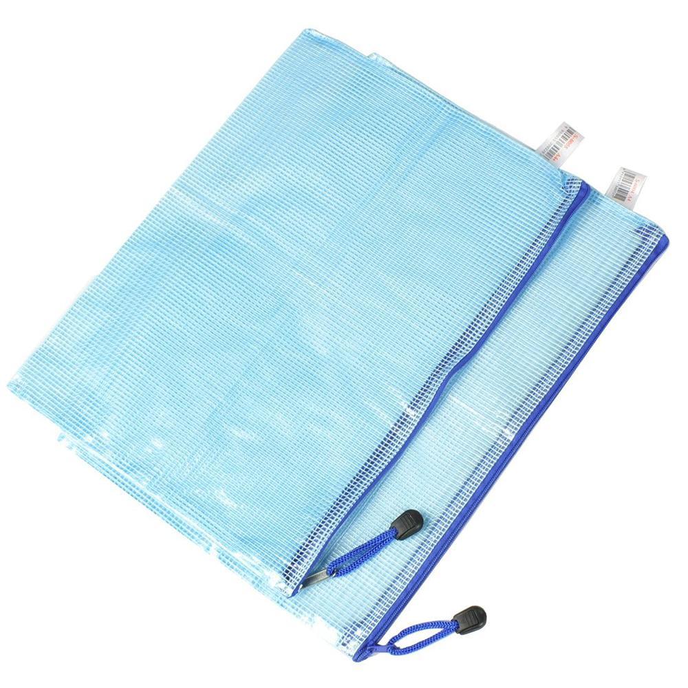 hot sale! Blue Soft Plastic Zip Closure A4 Paper Document Files Bags 2 Pcs(China (Mainland))