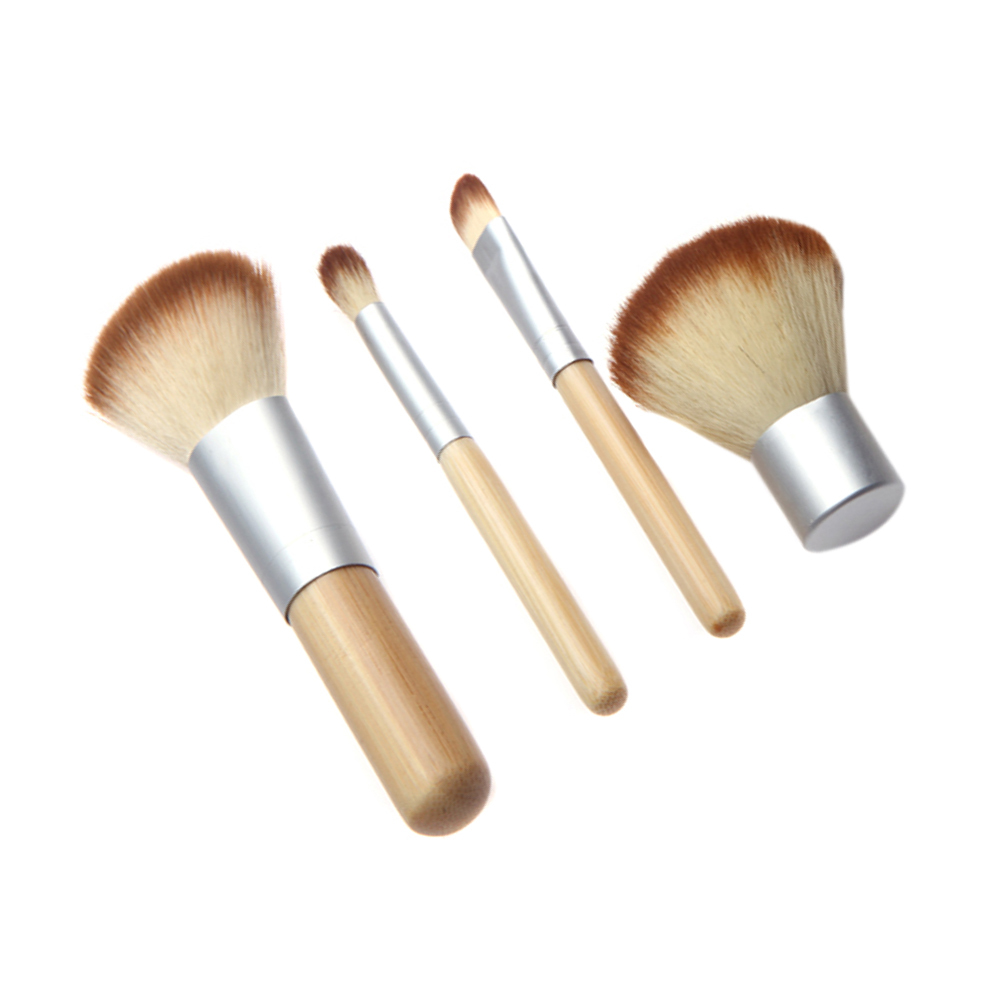 Professional 4Pcs Bamboo Handle Makeup Brush Set Cosmetics Tools Kit Powder Blush Brushes Make Up Brush(China (Mainland))
