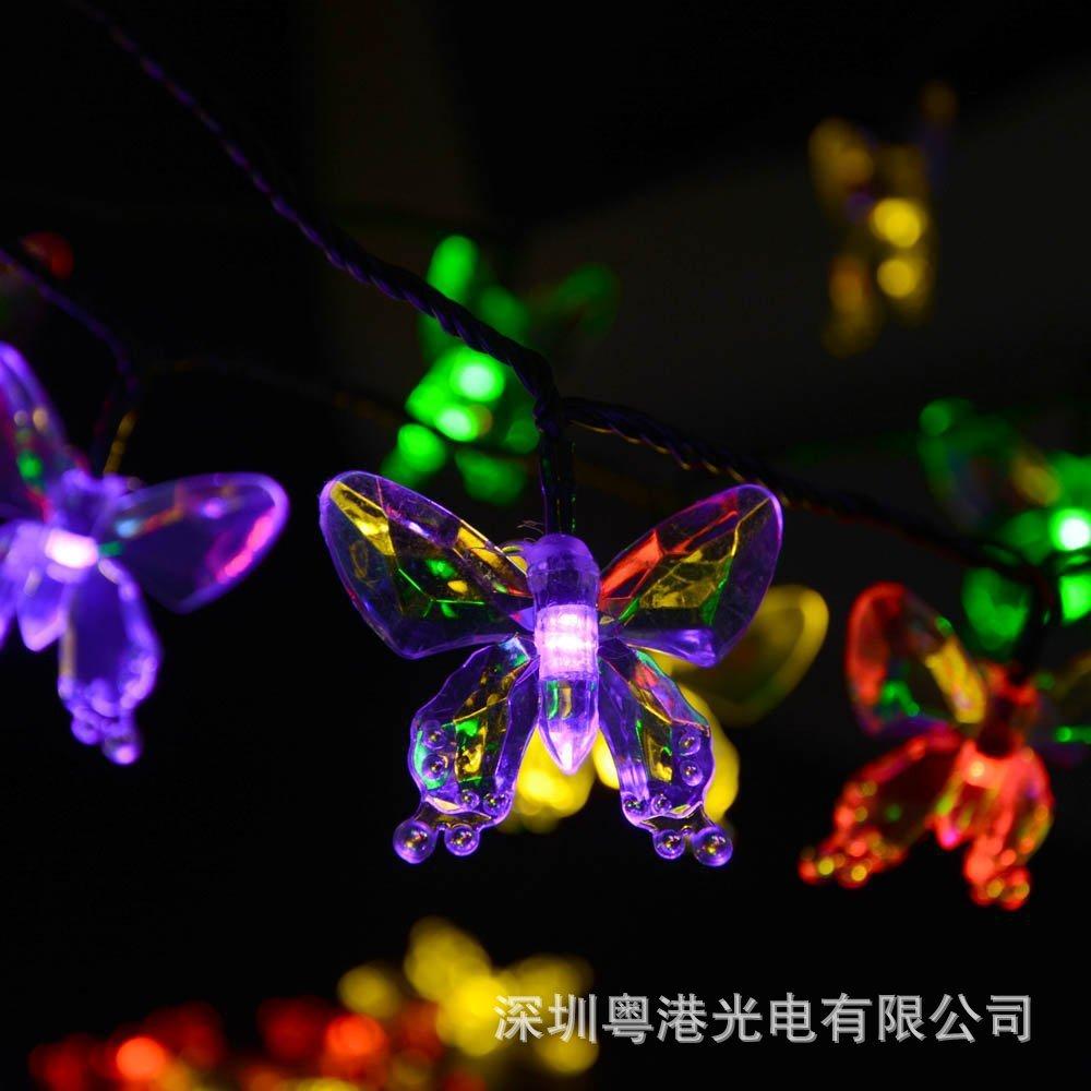 HOT LED Solar Butterfly Pendant Lights 4.8M 20L waterproof courtyard garden decorative Christmas lights(China (Mainland))