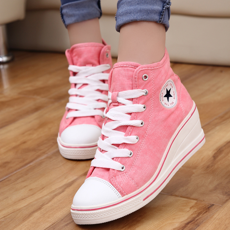 2014 badge wedges high lacing casual elevator shoes female canvas height increasing 6cm sneakers sd029 - Led Shoes store