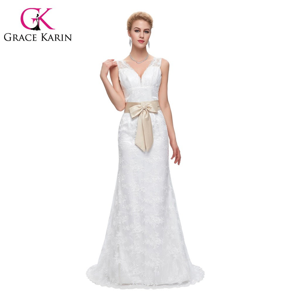 Grace karin 2016 new long lace wedding dresses white beige for Plus size beige wedding dresses