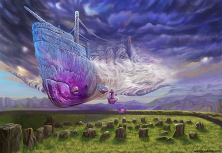 artwork mysterious flying ship fantasy art 02 4 Size Home Decoration Canvas Poster Print(China (Mainland))