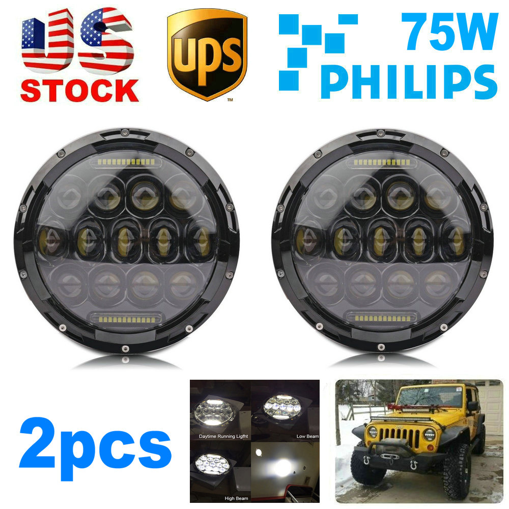 "2pcs 7"" Round LED Headlight Headlights Headlamp Wrangler CJ TJ JK DRL High Low Beam Driving Car Truck 4x4 SUV ATV Offroad(China (Mainland))"