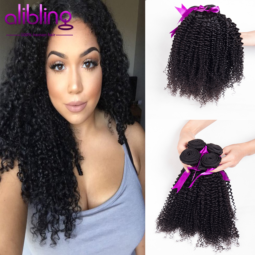 7A Unprocessed Brazilian Virgin Hair Kinky Curly Human Hair Weave Extensions for Black Women Natural Color 4 Bundles Fine Price(China (Mainland))
