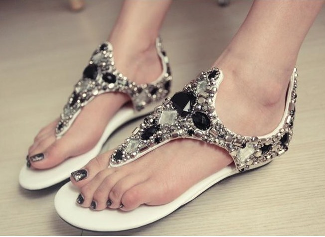 One generation summer blast wave model toe slope with pure handmade beaded gemstone flip sandals shoes