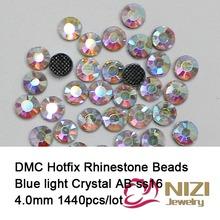 1440 pcs ss16 crystal AB DMC Hot Fix Rhinestones Flat Back Rhinestones High Quality And Very Shine Diy Use Bags Garment Shoes(Hong Kong)