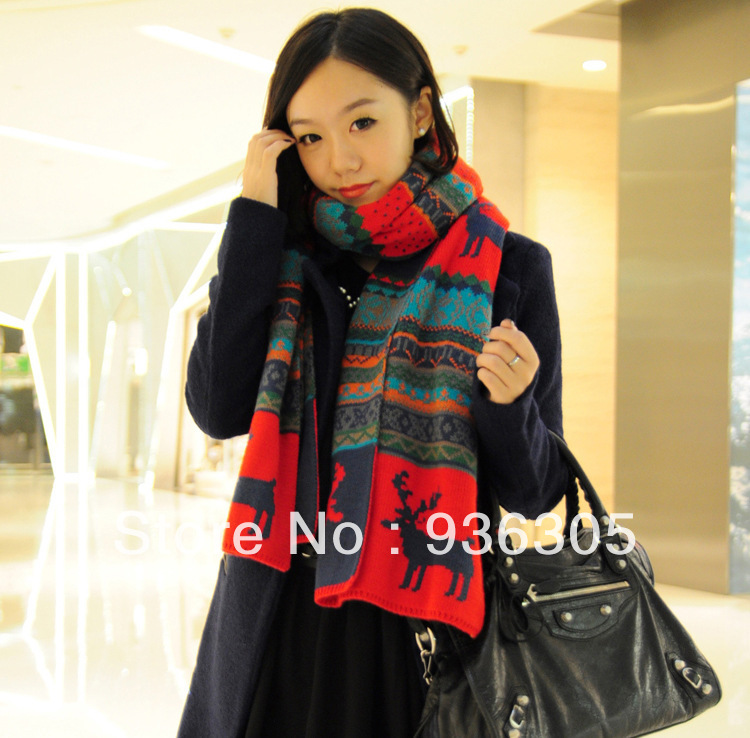 New hot!2013 Bohemian fawn double-sided design scarves,fashion with thick wool scarf.FREE SHIPPING ! Min. Order $ 10 (mix order)(China (Mainland))